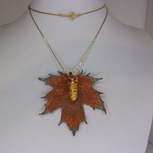 Copper Gold Dipped Leaf Pinecone Necklace